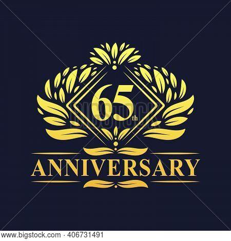 65 Years Anniversary Logo, Luxury Floral Golden 65th Anniversary Logo.