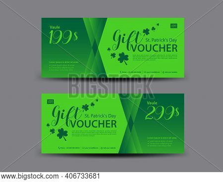 St. Patrick's Day Gift Voucher Card, Green Gift Voucher Template, Coupon Design, Certificate, Ticket