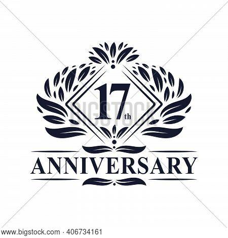 17 Years Anniversary Logo, Luxury Floral 17th Anniversary Logo.