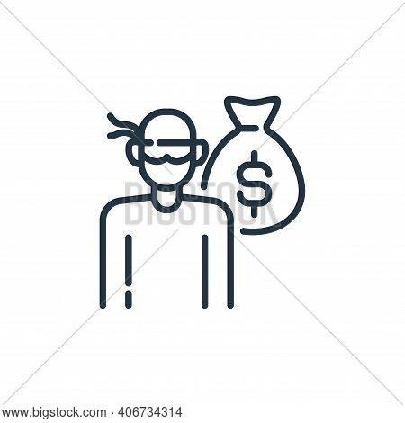 robbery icon isolated on white background from insurance collection. robbery icon thin line outline
