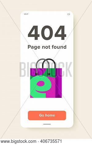 Illustration Of Shopping Bag With E Letter. Shopping Online, Technology, E-shop. E-commerce Concept.