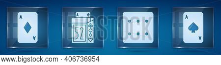 Set Playing Card With Diamonds, Deck Of Playing Cards, Game Dice And Playing Card With Spades. Squar