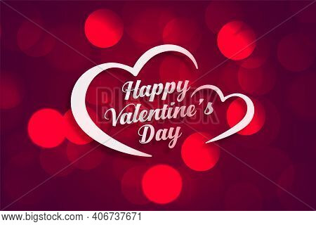 Beautiful Happy Valentines Day Banner With Bokeh Light Effect