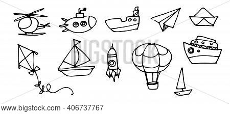 Hand Drawn Vector Set Of Transport Elements Helicopter Submarine Balloon Rocket Black Outline On Whi