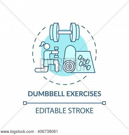 Dumbbell Exercises Concept Icon. At-home Workout Session Idea Thin Line Illustration. Building Endur