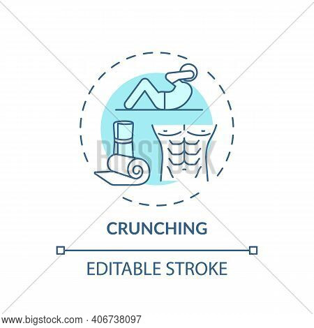 Crunching Concept Icon. At-home Workout Idea Thin Line Illustration. Lower Back Muscles And Obliques