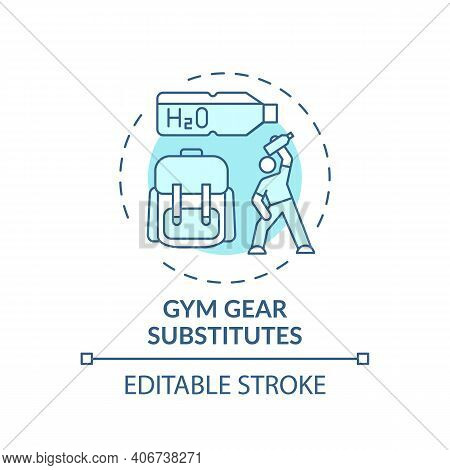 Gym Gear Substitutes Concept Icon. Home Physical Training Idea Thin Line Illustration. Adding Loadin