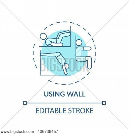 Using Wall Concept Icon. Gym Exercise Alternative Idea Thin Line Illustration. Building Strength, En