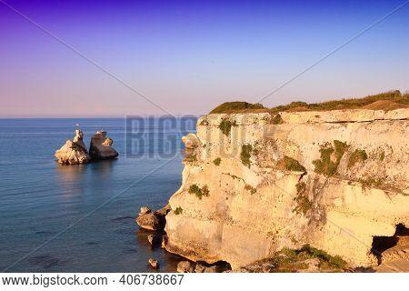 Salento Coast Landscape In Italy. Torre Dell'orso In Apulia Region.