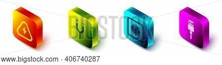 Set Isometric High Voltage, Electric Cable, Electric Light Switch And Usb Cable Cord Icon. Vector
