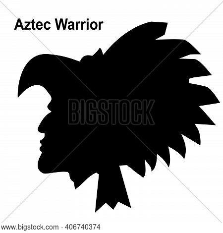 Aztec Tribal Warrior. Vector Illustration Ethnic Warrior Black Silhouette Isolated On White For Desi