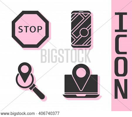 Set Laptop With Location Marker, Stop Sign, Search Location And City Map Navigation Icon. Vector