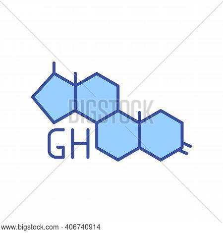 Growth Hormones Compounds Rgb Color Icon. Genetic Research. Chemical Compound. Supplemental Nourishm