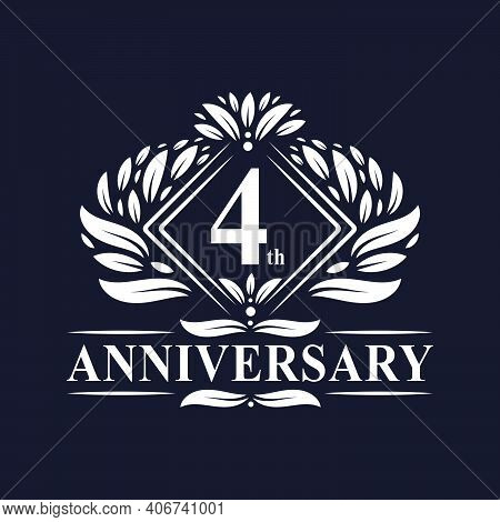 4 Years Anniversary Logo, Luxury Floral 4th Anniversary Logo.