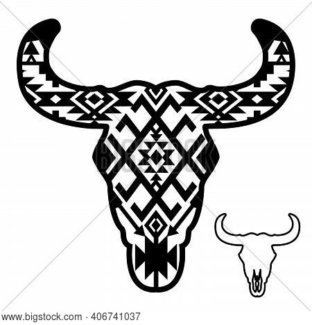 Cow Skull With Aztec Pattern. Vector Illustration Auroch Skull With Hornes And Southwest Traditional