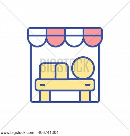 Farmers Market Stall Rgb Color Icon. Grocery Shopping. Store For Organic Foodstuff. Booth For Natura