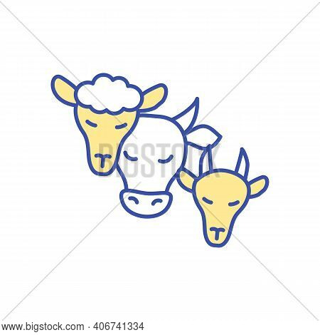 Livestock Animals Rgb Color Icon. Farm Cattle Care. Head Of Cow, Lamb And Sheep. Domesticated Animal