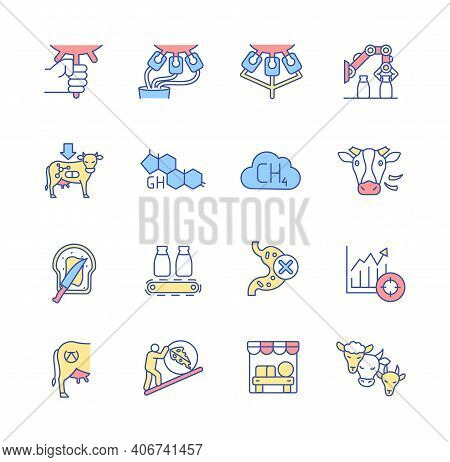 Dairy Industry And Cheese Production Rgb Color Icons Set. Hand Milking, Manure And Machinery Process