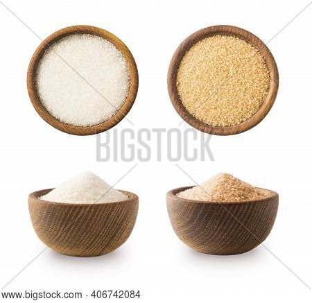 Heap Of Cane Sugar And White Sugar Isolated On White Background. Top View. Brown And White Sugar Iso