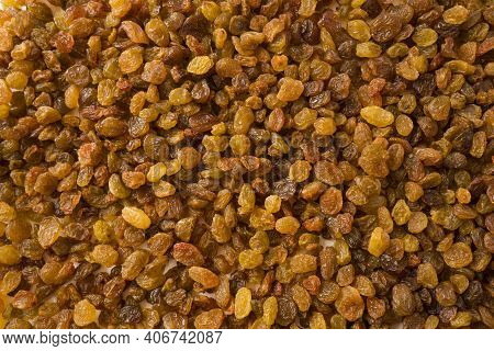 Background Of Raisins. Dried Fruits Of Close Up. Top View. Background Raisins Kishmish. Dried Fruit