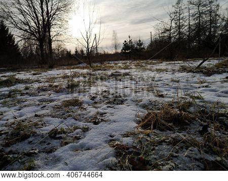 Rural Landscape In Winter In Russia Frosty Day