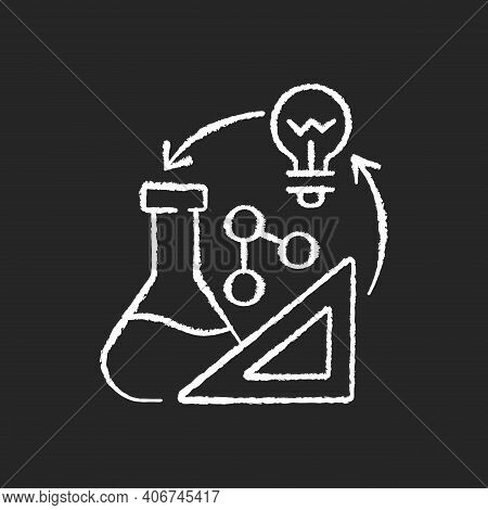 Creativity In Stem Chalk White Icons Set On Black Background. Creative Thinking Idea. Professional I