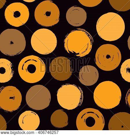 Polka Dot Paint Brush Seamless Pattern. Freehand Grunge Design Background. Circle Motif Modern Minim