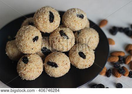 Rava Laddu Is A South Indian Sweet Made With Semolina, Sugar, Ghee, Cashews And Raisins.