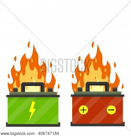 Broken Car Battery. Rechargeable Electricity Accumulator. Element Of Auto. Damaged Fire Object. Cart