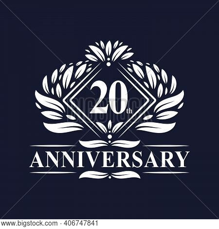 20 Years Anniversary Logo, Luxury Floral 20th Anniversary Logo.