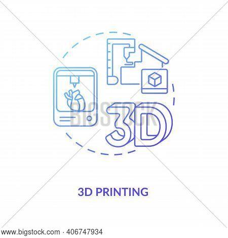 3d Printing Concept Icon. Industry 4.0 Idea Thin Line Illustration. Three-dimensional Digital Model.