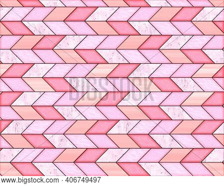 Illustration Of Geometric Pattern And Stained Glass Style In Pink Colors, Background And Texture