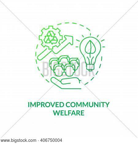 Improved Community Welfare Concept Icon. Organic Waste Reduction Idea Thin Line Illustration. Social