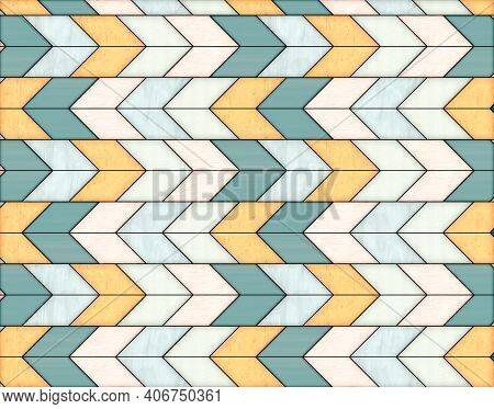 Illustration Of Geometric Pattern And Stained Glass Style In Yellow, Green And Gray Colors, Backgrou