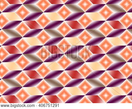 Geometric Pattern Illustration For Decoration In Gradient Orange, Yellow And Purple Colors, Backgrou