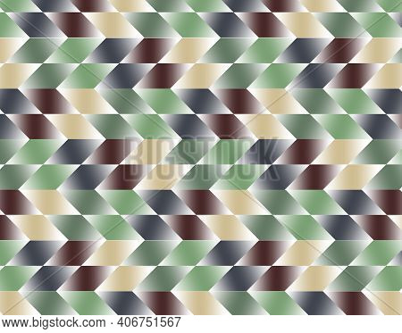 Geometric Pattern Illustration For Decoration In Gradient Brown, Green And Gray Colors, Background A