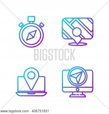Set Line Monitor With Location Marker, Laptop With Location Marker, Compass And Infographic Of City