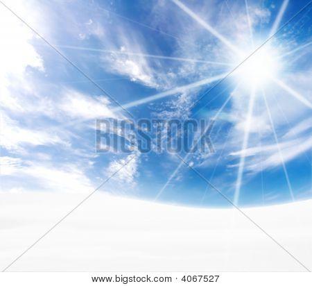 Idyllic Curved Blue Horizon Snowy Hills