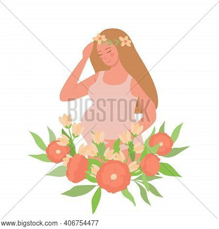 A Pregnant Girl Holds Her Hand On Her Tummy. A Young Woman Surrounded By Flowers. Vector Illustratio