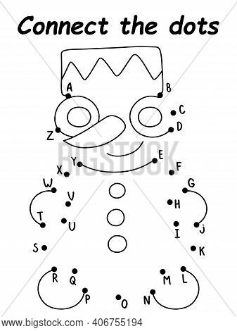 Little Snowman Connect The Dots Game For Children Stock Vector Illustration. Simple Black And White