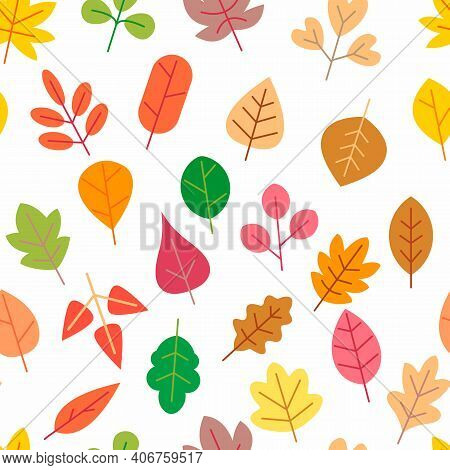 Autumnal Seamless Patterns. Autumn Leaves On A White Background. Abstract Texture Of Leaves. Cute Ba