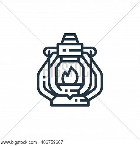 oil lamp icon isolated on white background from camping collection. oil lamp icon thin line outline