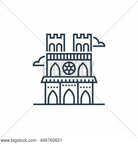 notre dame icon isolated on white background from tourism collection. notre dame icon thin line outl
