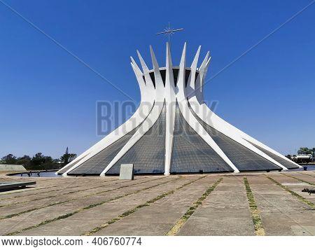 Brasilia, Brazil - September 14, 2019: View Of Metropolitan Cathedral Of Brasilia