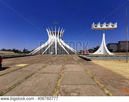 Brasilia, Brazil - September 14, 2019: Wide View Of Metropolitan Cathedral Of Brasilia