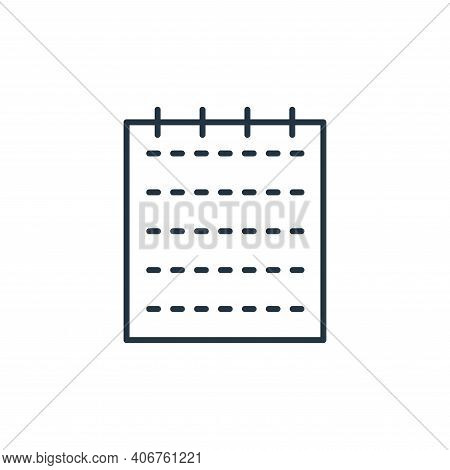 notepad icon isolated on white background from stationery collection. notepad icon thin line outline