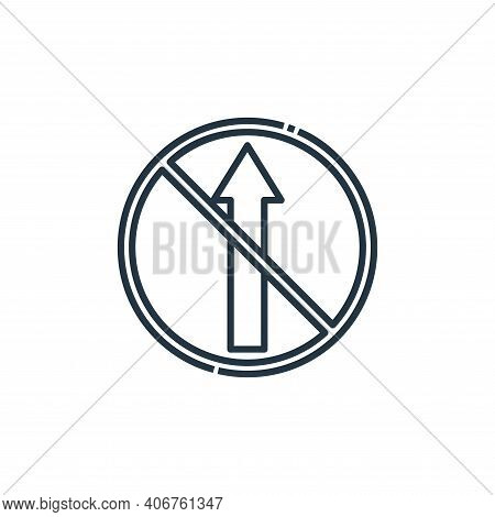 no straight icon isolated on white background from signaling collection. no straight icon thin line