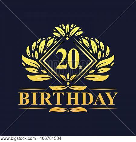 20 Years Birthday Logo, Luxury Golden 20th Birthday Celebration.