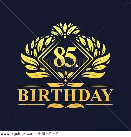 85 Years Birthday Logo, Luxury Golden 85th Birthday Celebration.