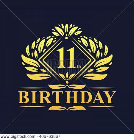 11 Years Birthday Logo, Luxury Golden 11th Birthday Celebration.